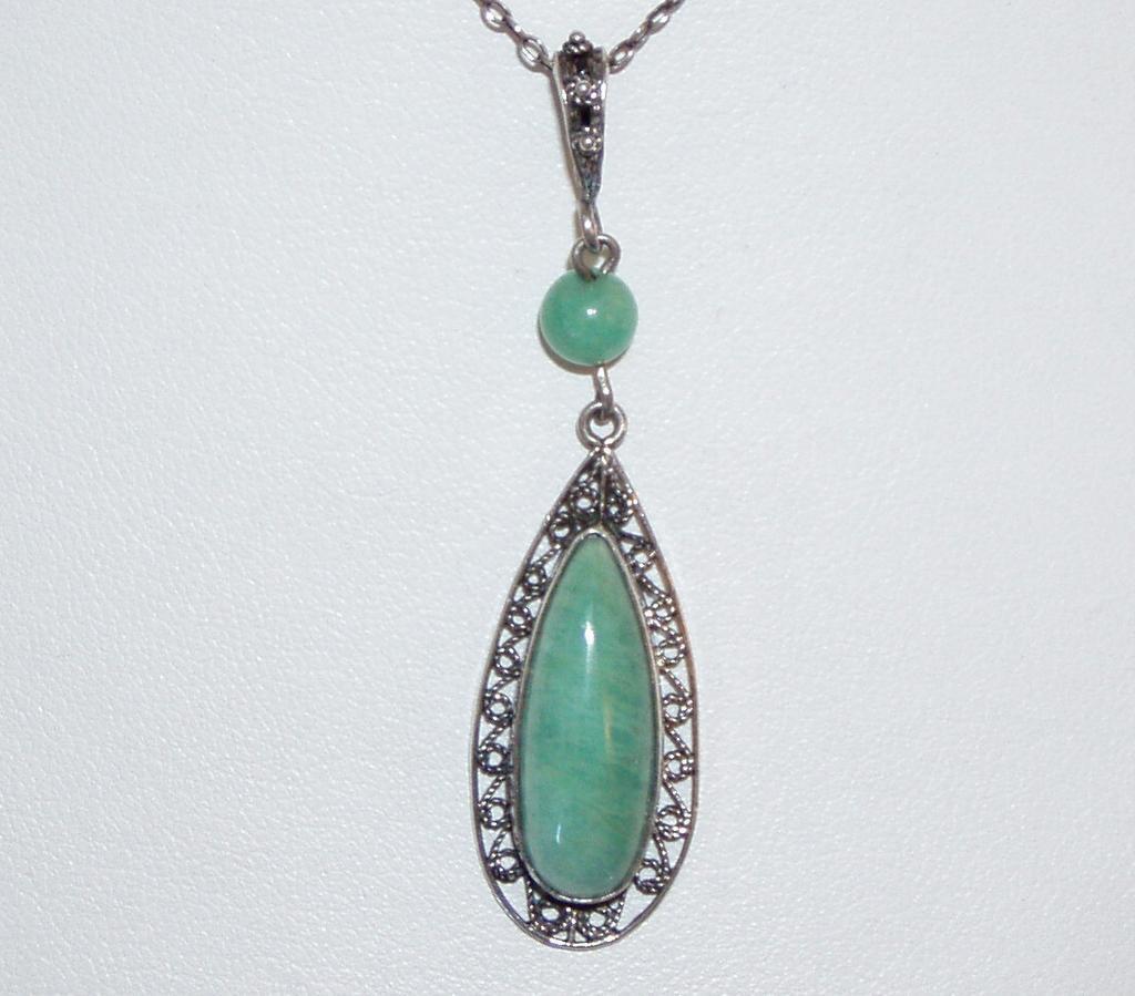 Vintage Sterling Green Aventurine  Pendant