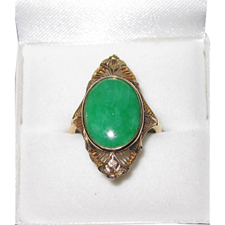 Vintage 14K Yellow Gold Filigree Apple Green Jade Ring