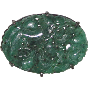 Sterling Silver Brooch Carved Jadeite Jade