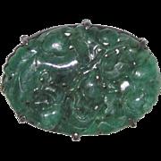 Sterling Silver Brooch Carved Jadeite Jade