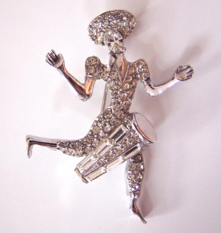 Vintage Rhinestone Lady Bongo Player
