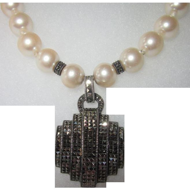 Judith Jack Vintage Sterling Marcasite Pendant Faux Pearls