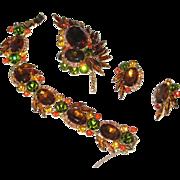 Juliana Fall Colors Heliotrope Demi Parure Bracelet Earrings Brooch