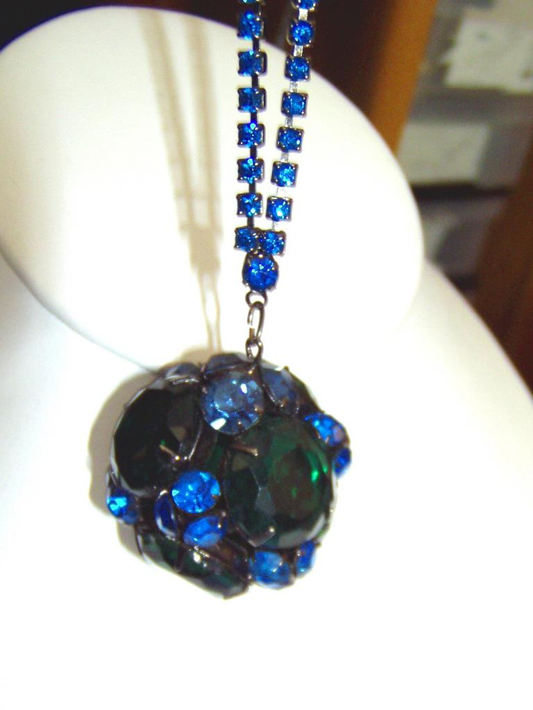 Large Teal Blue and Green Ball Necklace