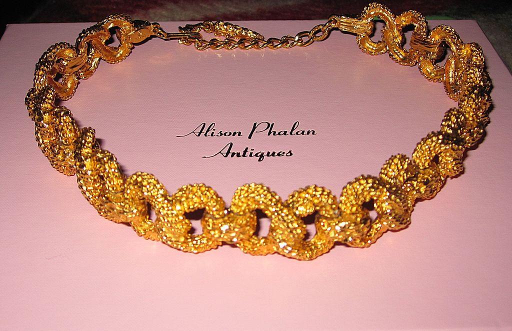Kenneth J Lane Choker Chunky Goldtone Necklace