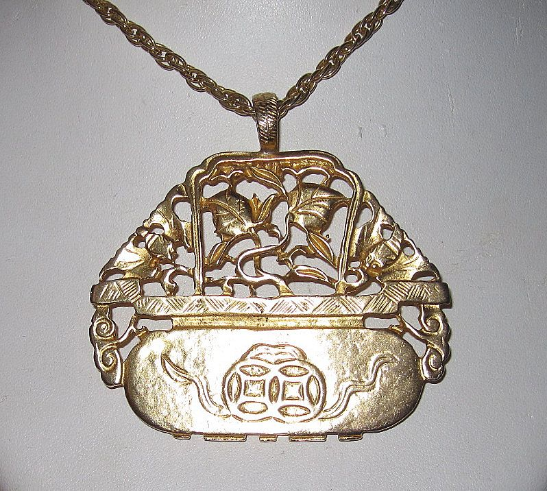 Vintage Kenneth Lane Huge Pendant Asian Motif