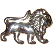 Large Lion Silver Made in Mexico Early Piece