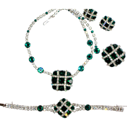 Kramer of New York Parure Green and White Rhinestone