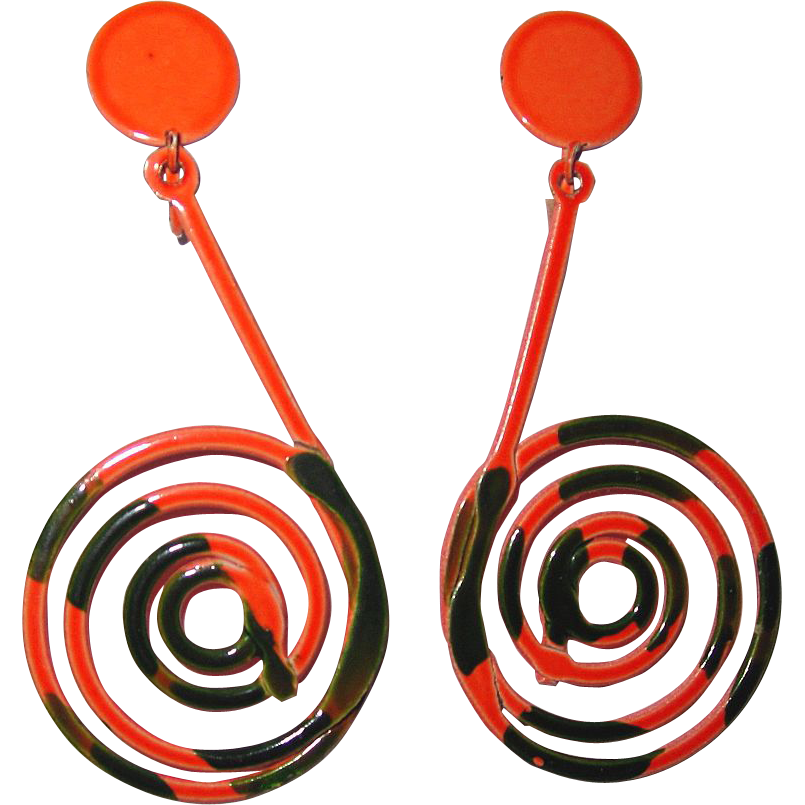 Mod Kramer Enamel Wild Earrings Orange Green Book