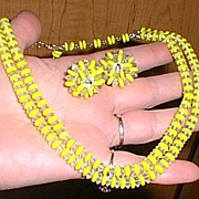 Laguna Yellow Glass Necklace and Earrings