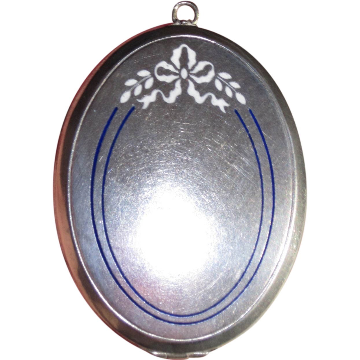 Large Silvertone Enamel Compact or Locket