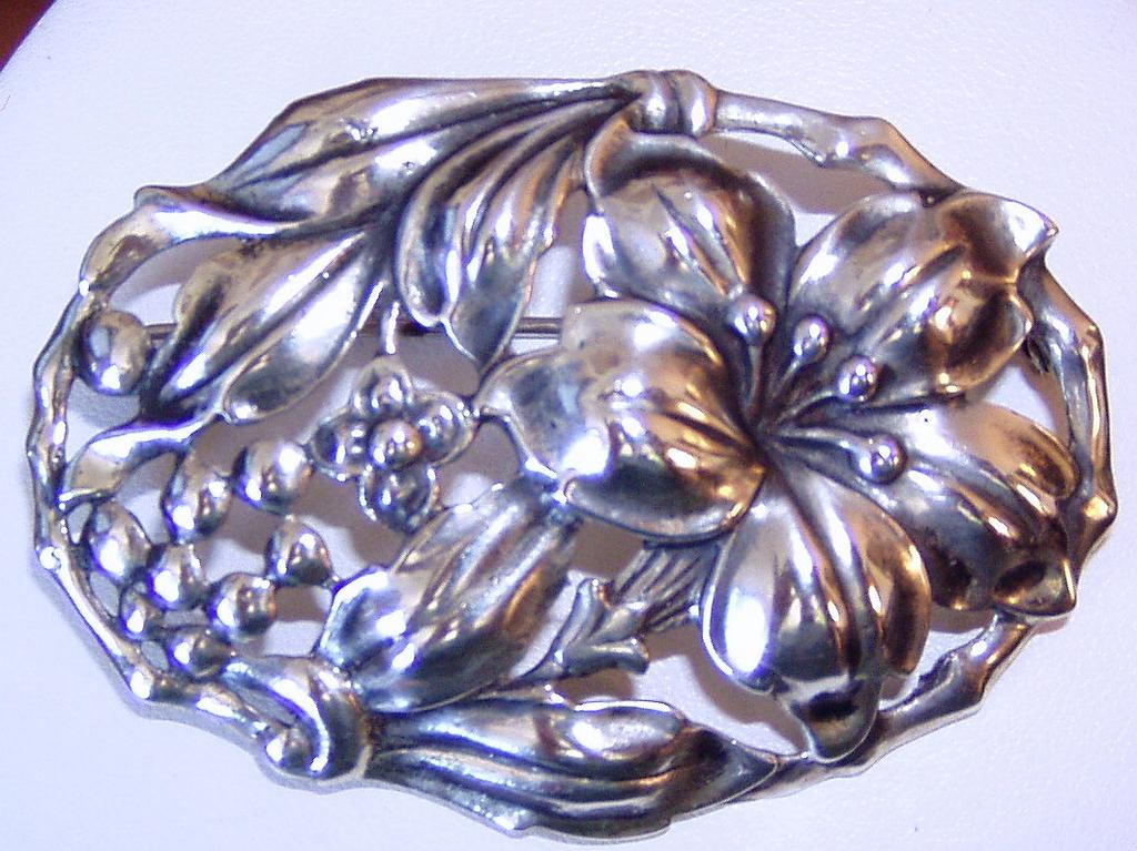 Vintage Danecraft Sterling Brooch Flowers