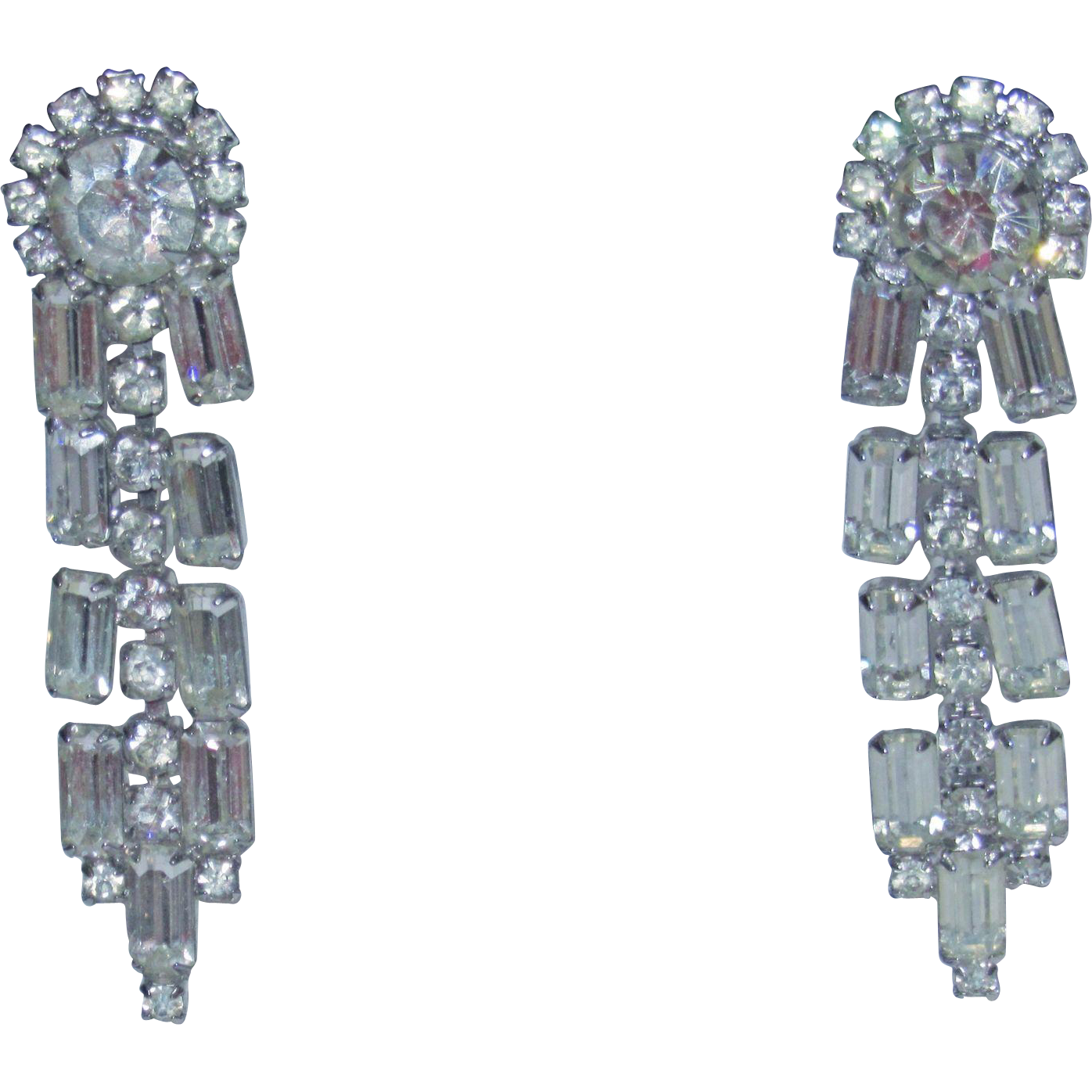 Vintage Large Rhinestone Earrings Lovely