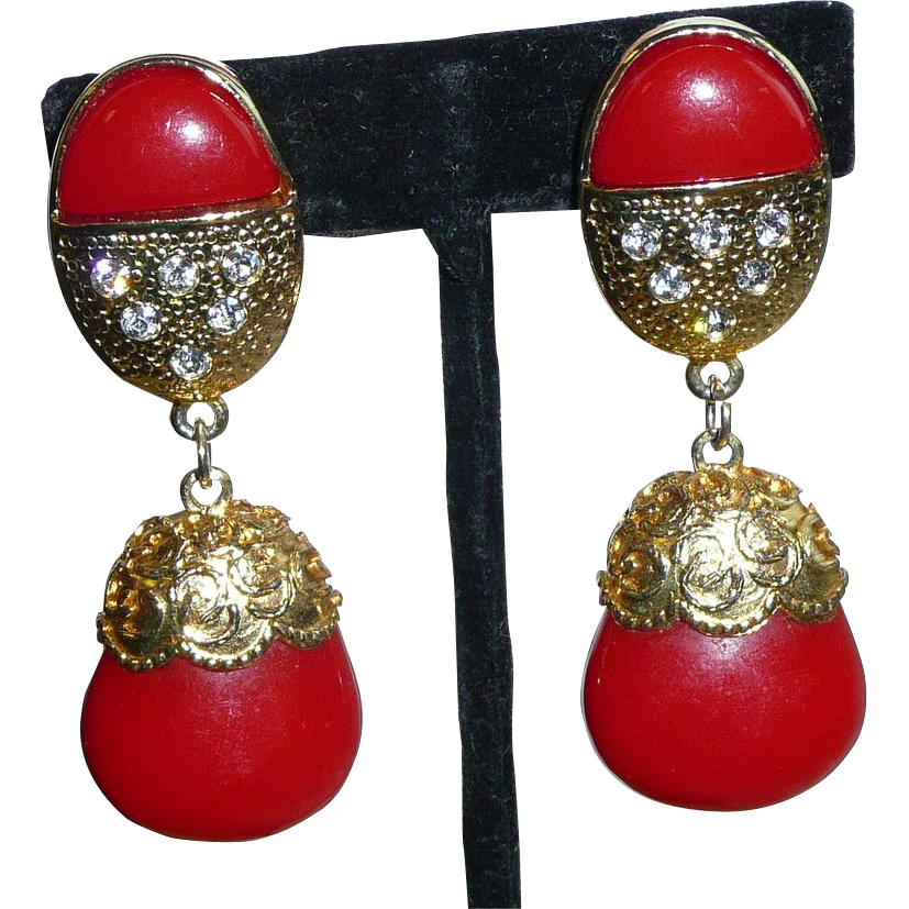 Large Red Vintage Clip Earrings