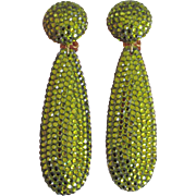 Large 1980s Rhinestone Drop Earrings Green