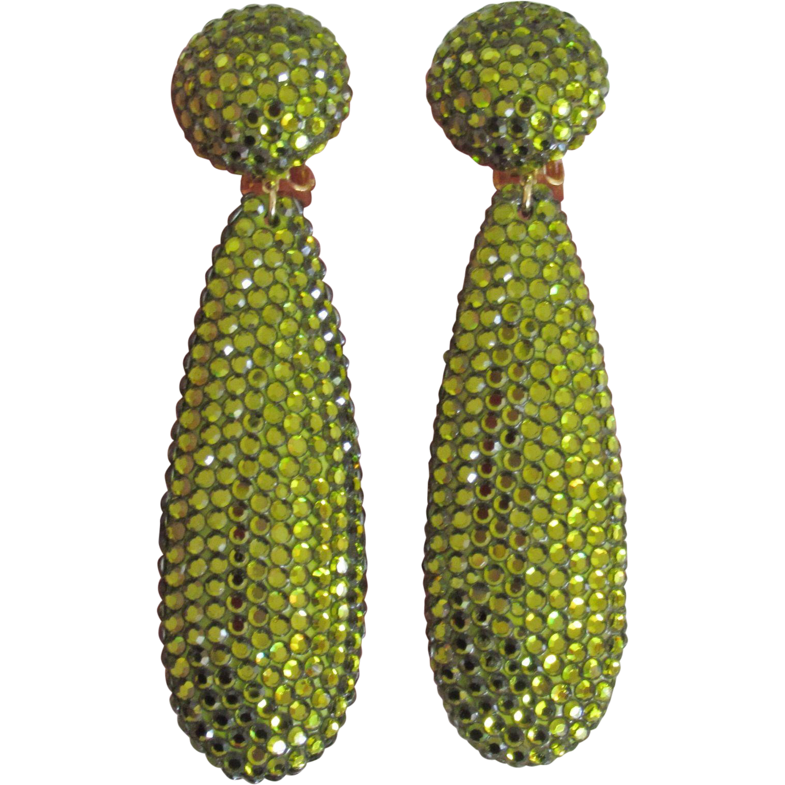 Large 1980s Rhinestone Drop Earrings Green