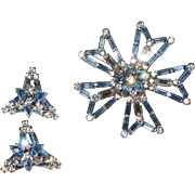 Large Sparkling Blue Rhinestone Brooch and Earrings