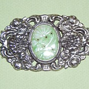 Large Vintage Silver Brooch Faux Jade Stone