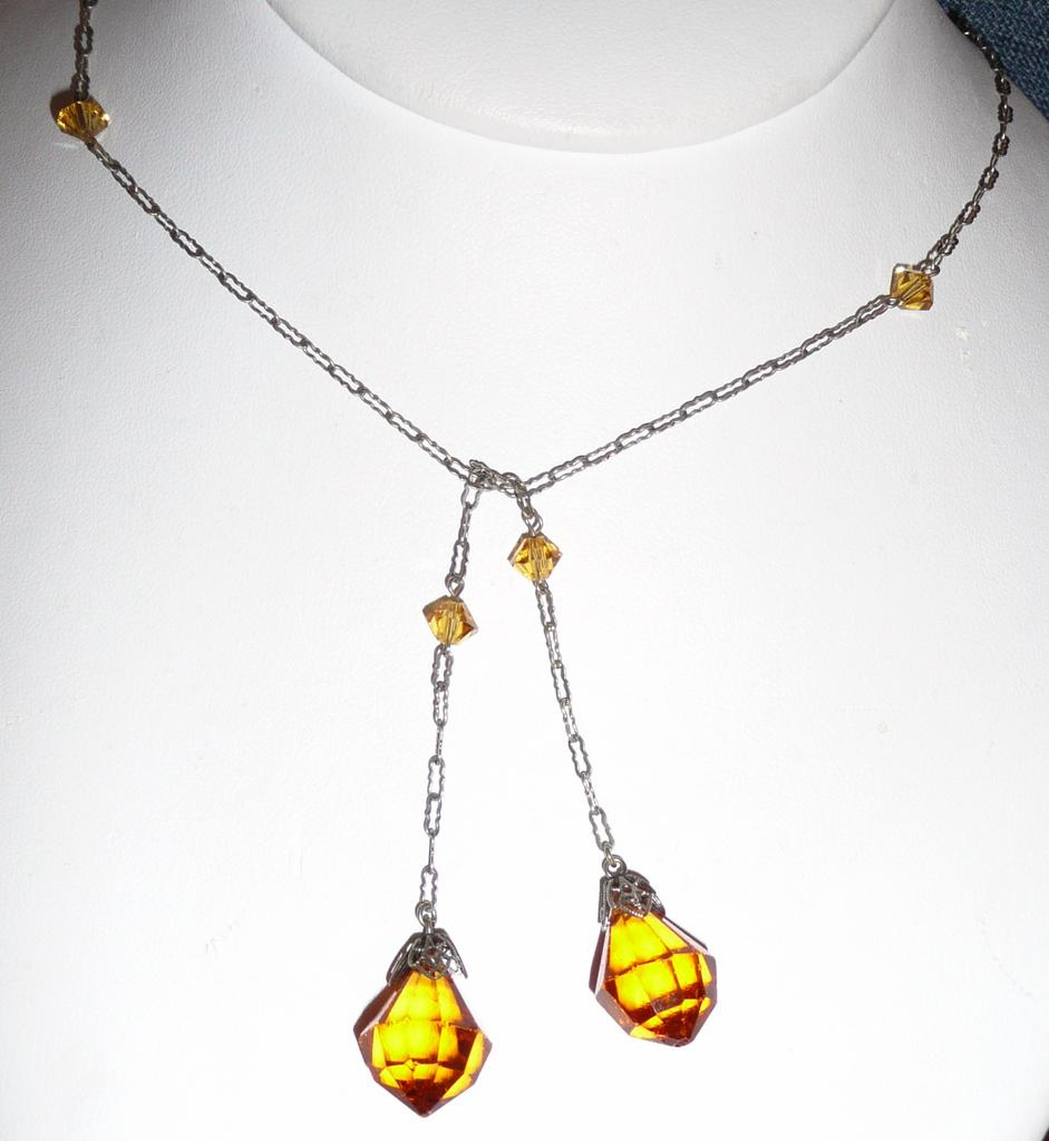 Edwardian Lariat Crystal Lavaliere Orange Color