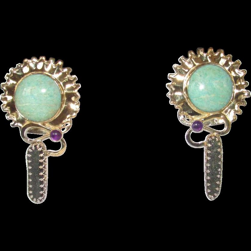Vintage Sterling Larimar Amethyst Druzy Earrings