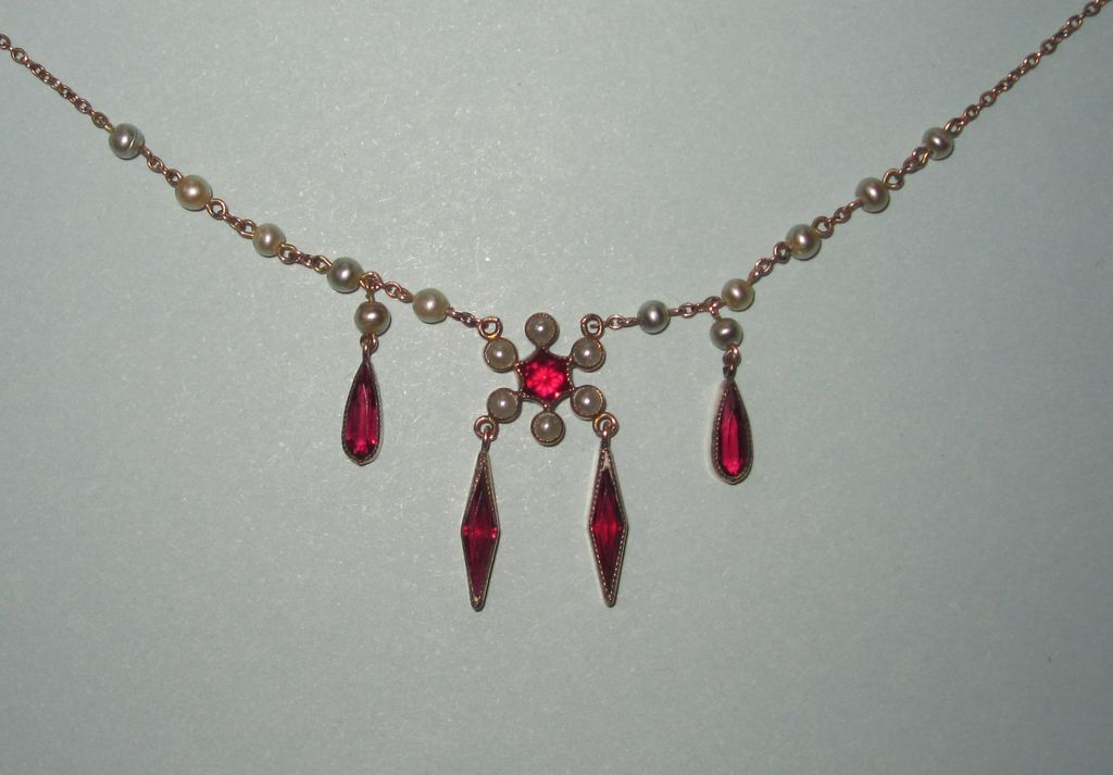 Victorian Lavalier Pearls Red Dangles Fit For A Bride