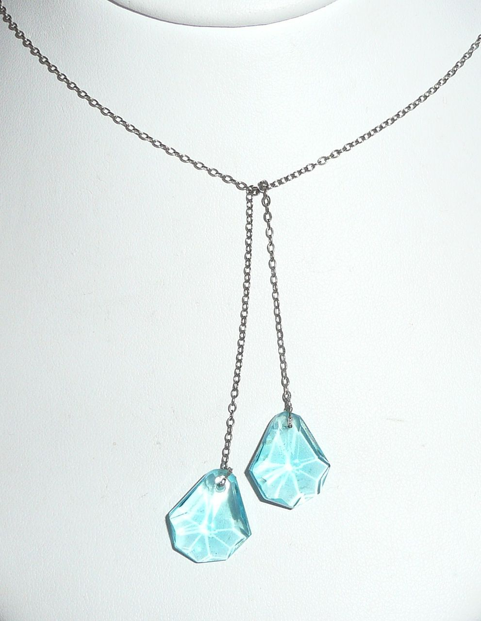 Aqua Blue Glass Lavaliere Pendants Necklace