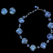 Vintage Blue Art Glass Necklace and Earrings