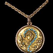Art Nouveau Locket Question Mark Turquoise
