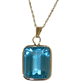 14K Gold London Blue Topaz Pendant Very Bright