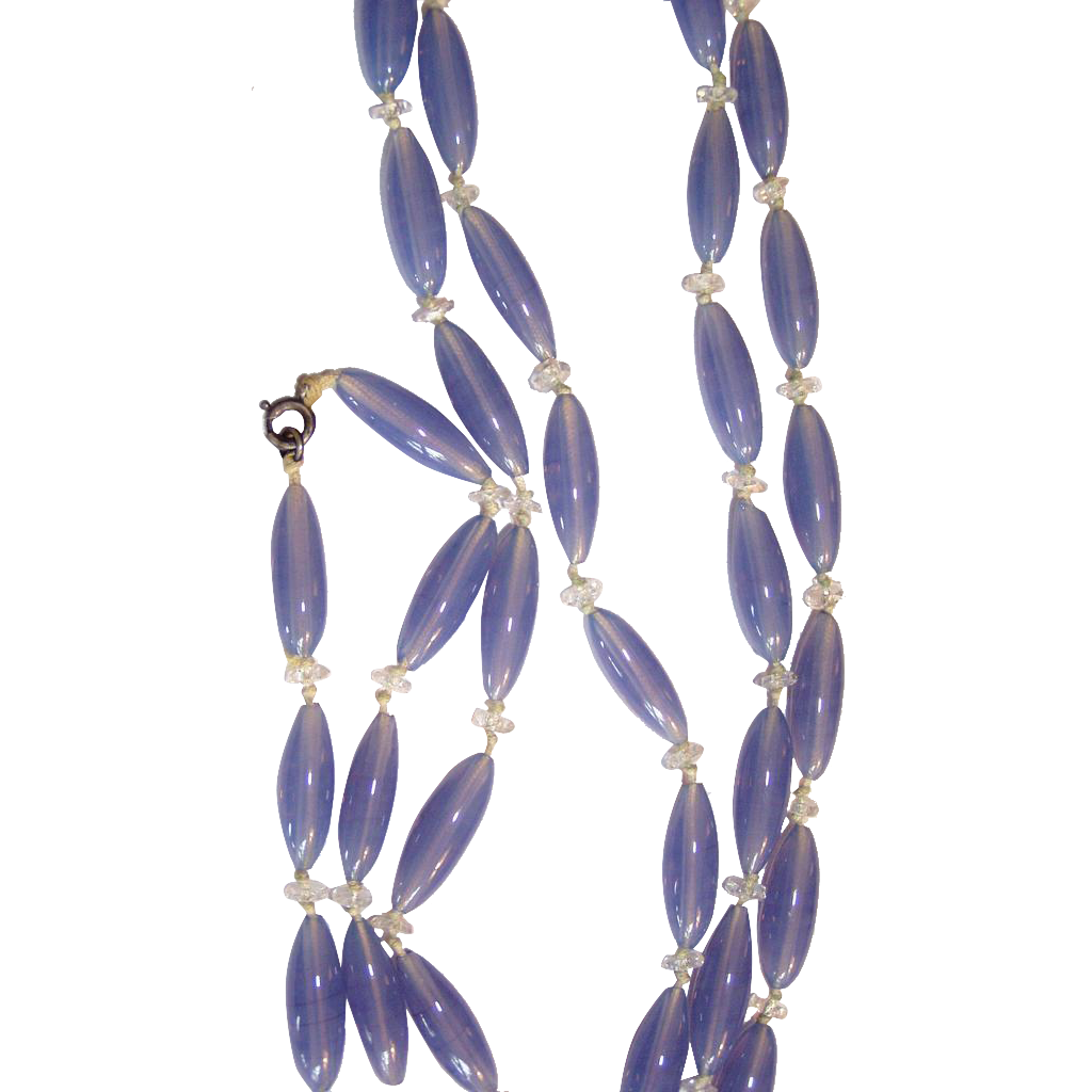 Art Deco Beautiful Blue Chalcedony Glass Elongated Beads Necklace