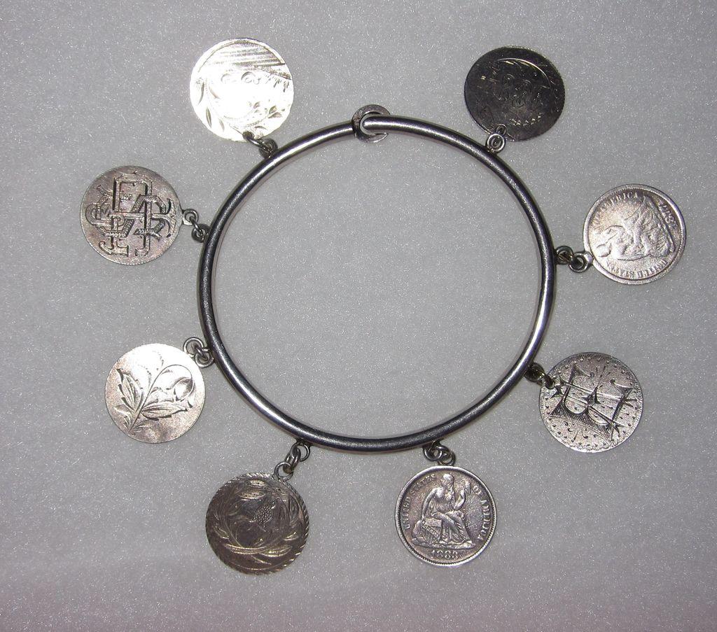 Victorian Love Token Bangle Bracelet  8 Tokens Pictorials