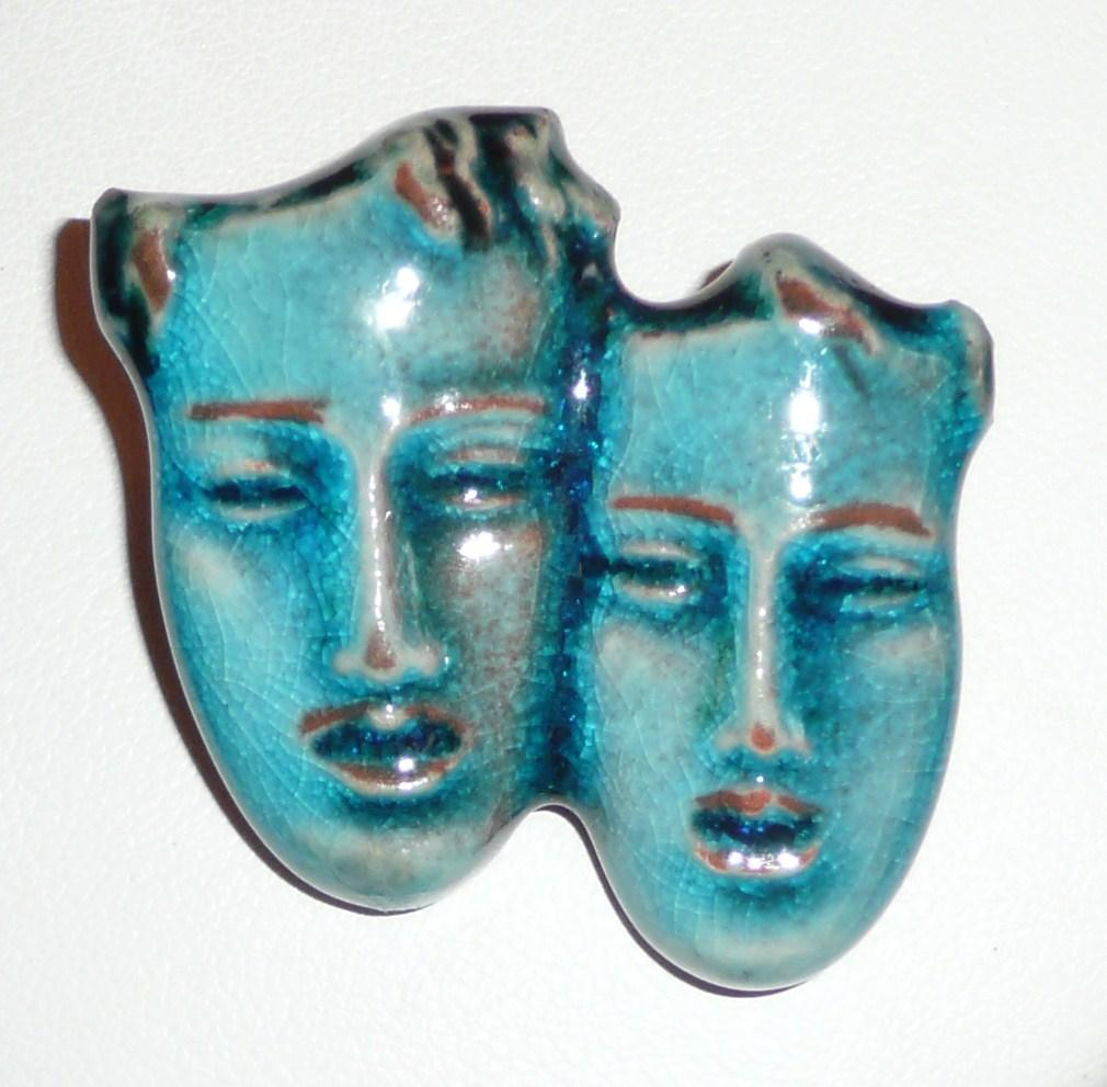 Germany Aqua Majolica Brooch Faces