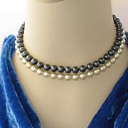 Vintage Majorica Pearls Double Strand Choker Black Cream