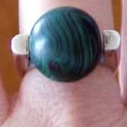 Modern Silver Malachite Ring Large Ball
