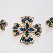 Vintage Rhinestone Maltese Cross Matching Earrings