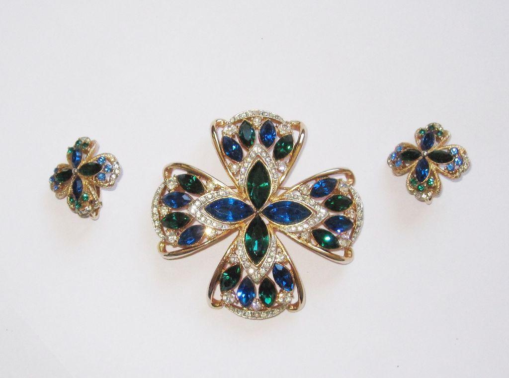 Vintage Rhinestone Maltese Cross Matching Earrings
