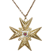 Georgian Maltese Cross Cannetille Pendant