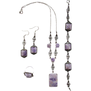 Art Deco Sterling Marcasite Amethyst Parure Ring Necklace Bracelet Earrings