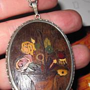 Vintage Marquetry Pendant Flower Basket Sterling Frame