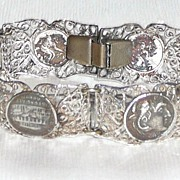 Filigree Silver Medallion Bracelet