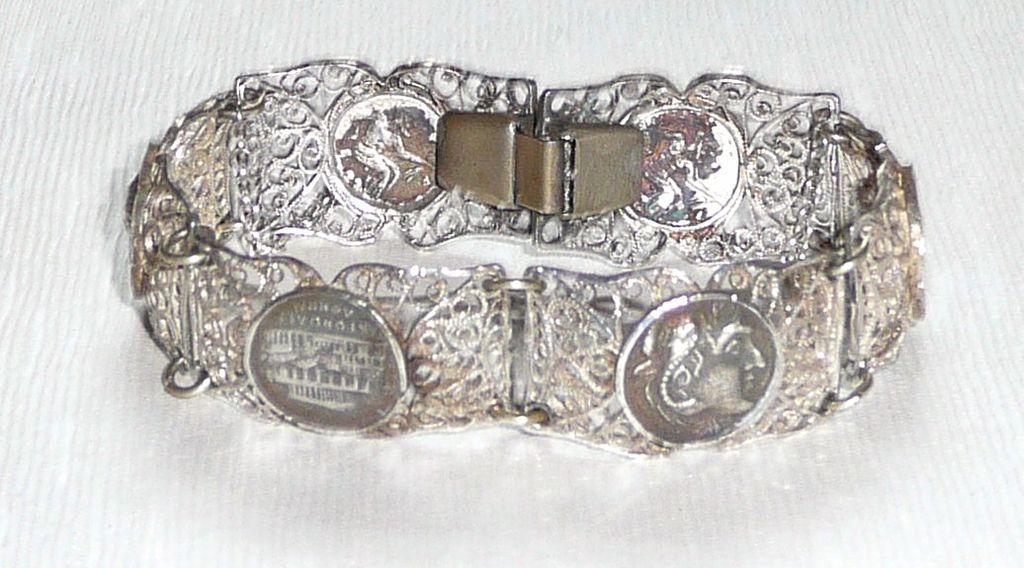 Filigree Silver Medallion Bracelet