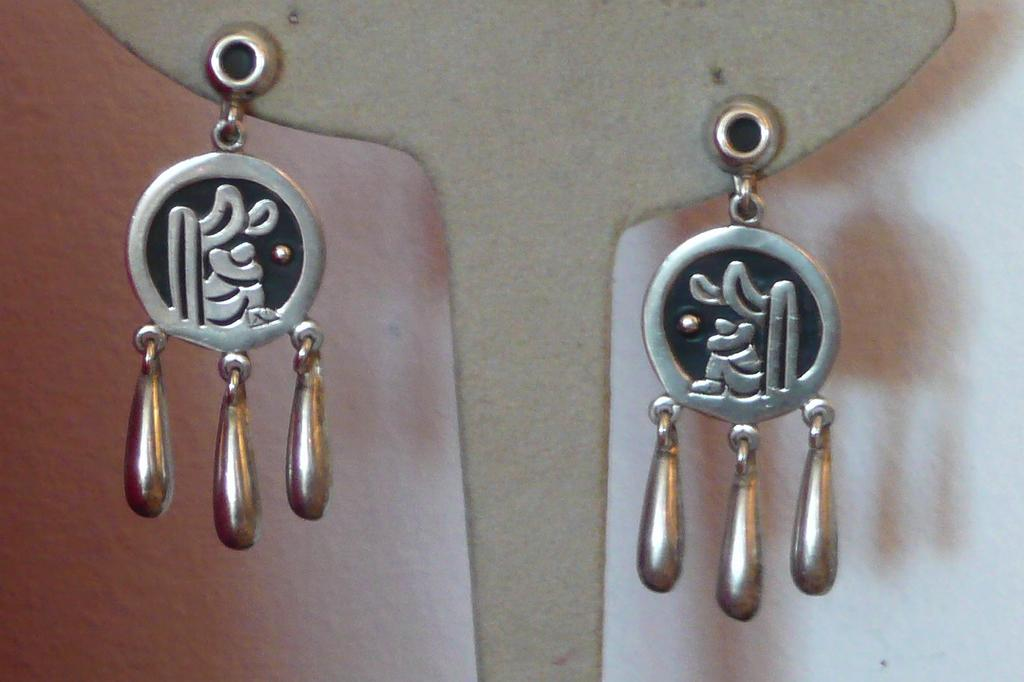 Vintage Mexican Silver Earrings Man and Cactus