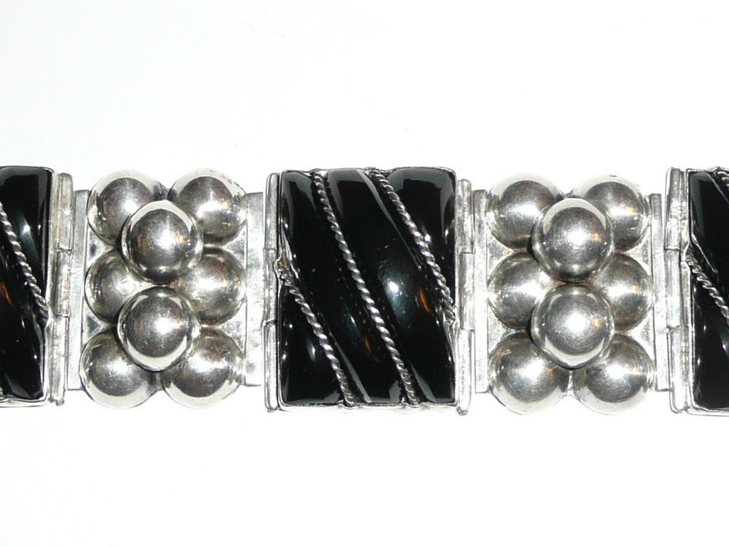 Early Mexico Silver Wide Onyx Bracelet
