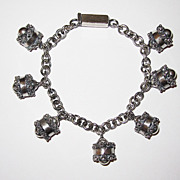 Vintage Mexican Silver Charm Bracelet