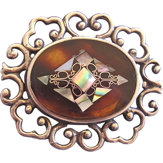 Vintage Mexico Sterling Brooch Inlay