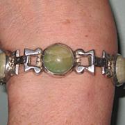 Vintage Mexico Silver Bracelet Cabochon Green Stones