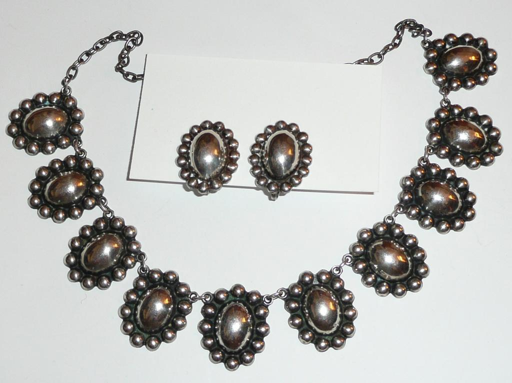 Early Mexico Silver Necklace and Earrings
