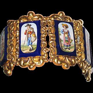 Rare Museum Quality 19th Century 18K  Micromosaic Bracelet