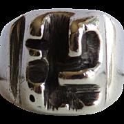 Mid Century Brutalist Sterling Studio Ring
