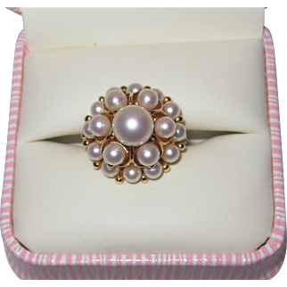 Beautiful Mikimoto Pearls Princess 14K Pearls Ring